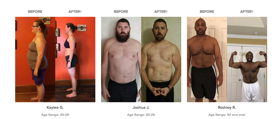 Before & after results from the beachbody program