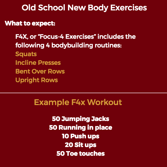 exercise examples from old school new body f4x method