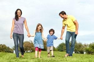 Happy family walk