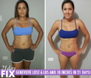 young woman loses weight with 21 day fix