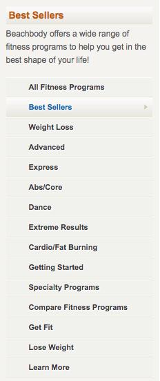 Variety of beachbody fitness programs